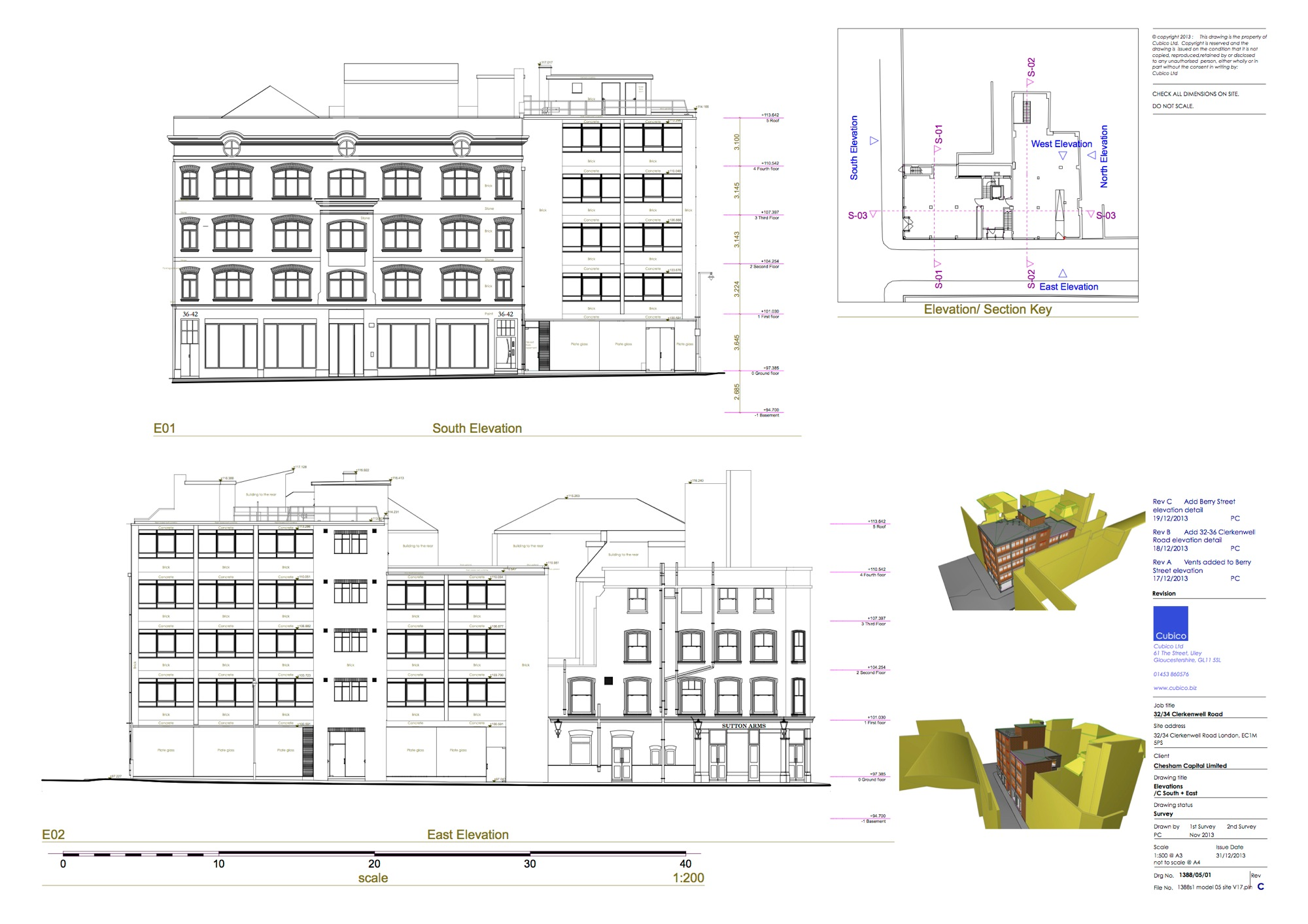 Clerkenwell Road, London – measured building survey – elevations