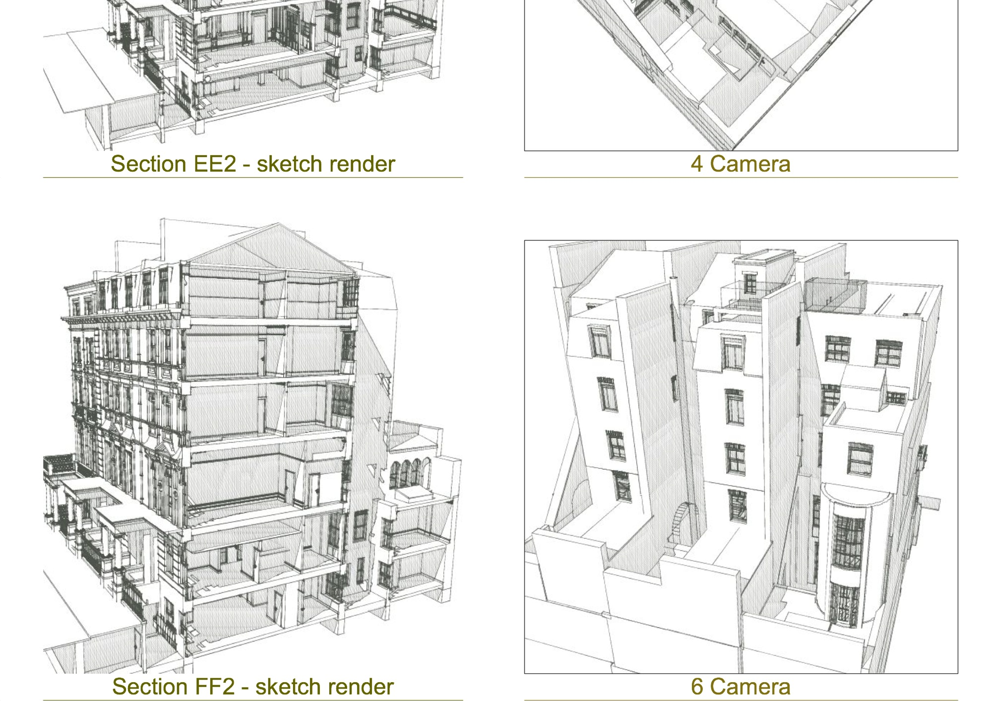 Inverness Terrace, London – Measured building survey – 3D sketch cutaway views