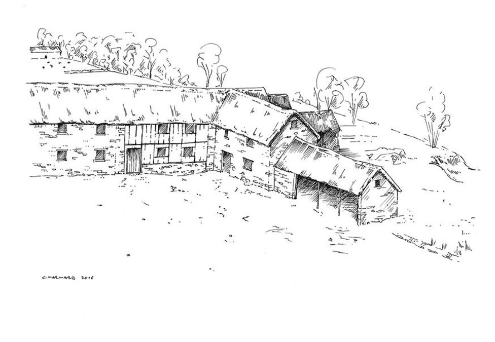 Reconstruction drawing of medieval farm